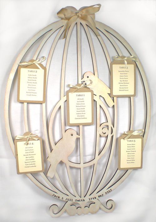 Wedding Table Plan / Seating Plan - Wooden Personalised Vintage Bird Cage