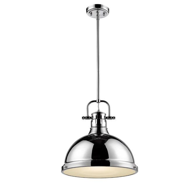 Classic Dome Shade Pendant Light With Rod Large