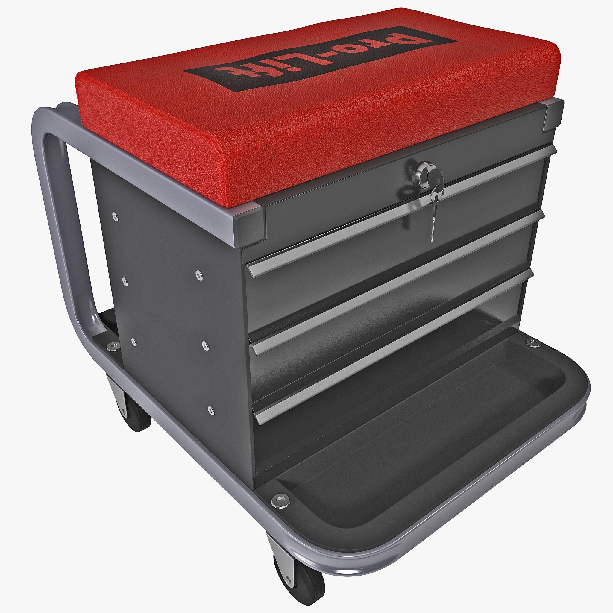 3d Toolbox Creeper Seat Model 3d Model Tool Box Shop Stool 3d Model