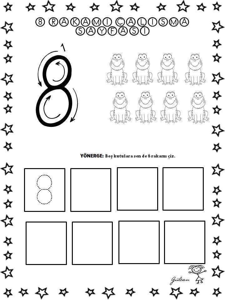 8 Rakami Calisma Sayfasi Okul Oncesi Okul Matematik Okuma
