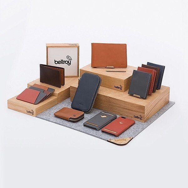 Display Ideas For Handbags: Bellroy Store Display.