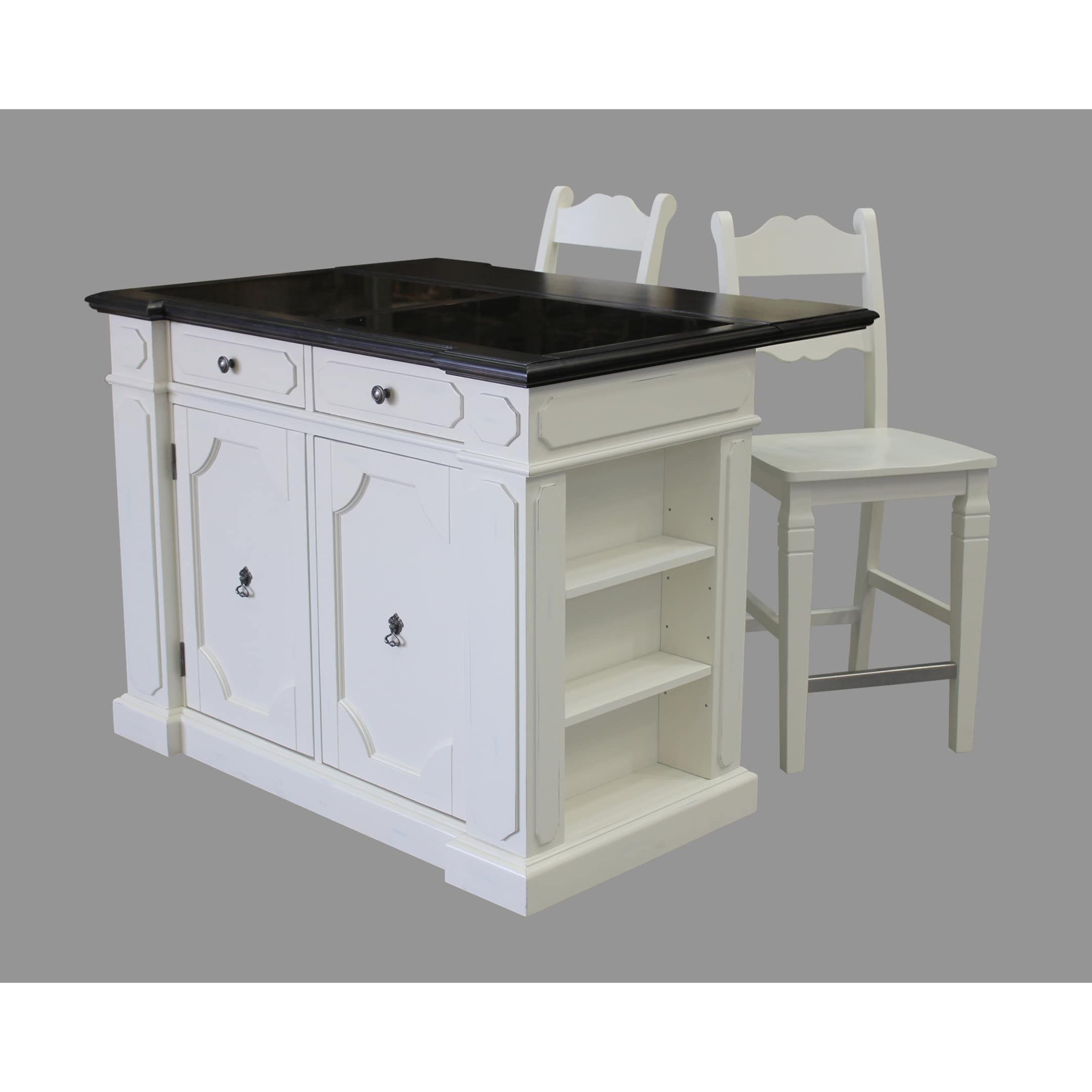 Havenside Home Driftwood Granite Top Kitchen Island With 2
