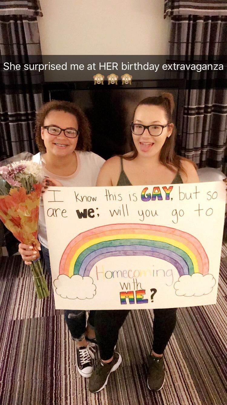 I wasn't pleased with any hoco-proposals I saw online so I decided to come up with my own! #lesbians #hocoproposal #gay #girlfriend #homecoming #hocogoals #shesaidyes #prompicturescouples #hocoproposals