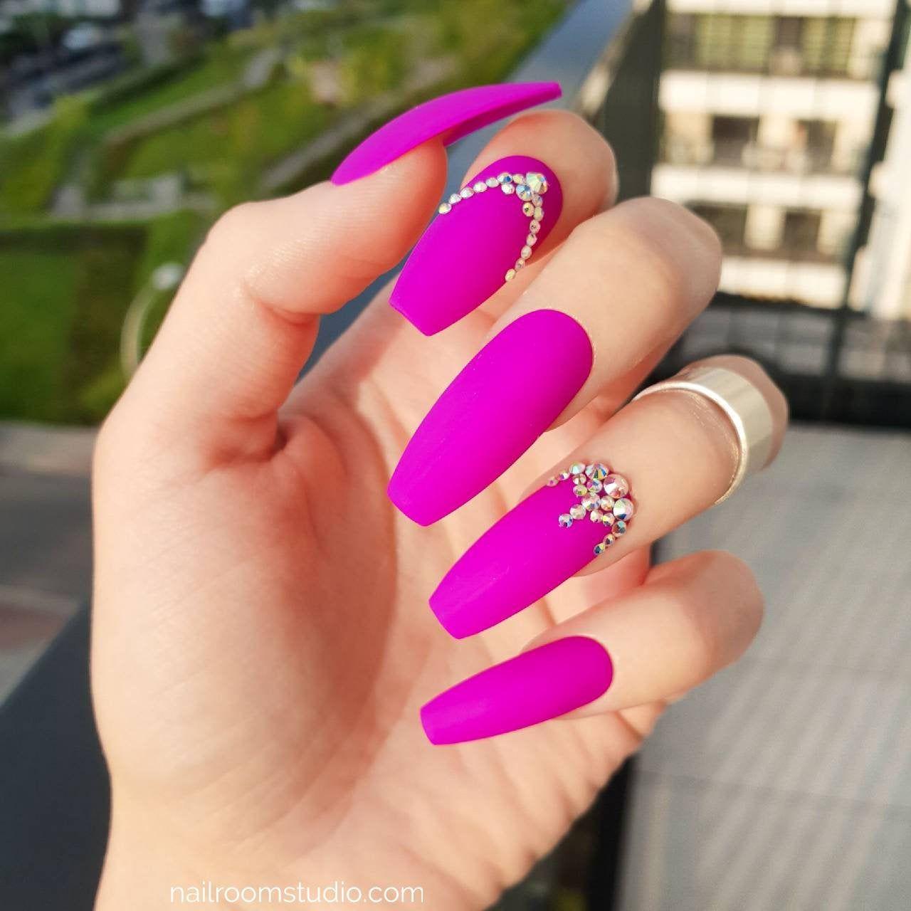 Violet matte 10 press on nails  AB opal shiny crystals  fake | Etsy