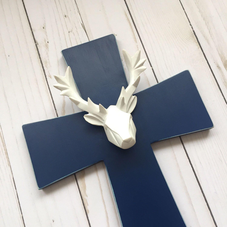 Navy hunter nursery unique wall crucifix woodland nursery cross