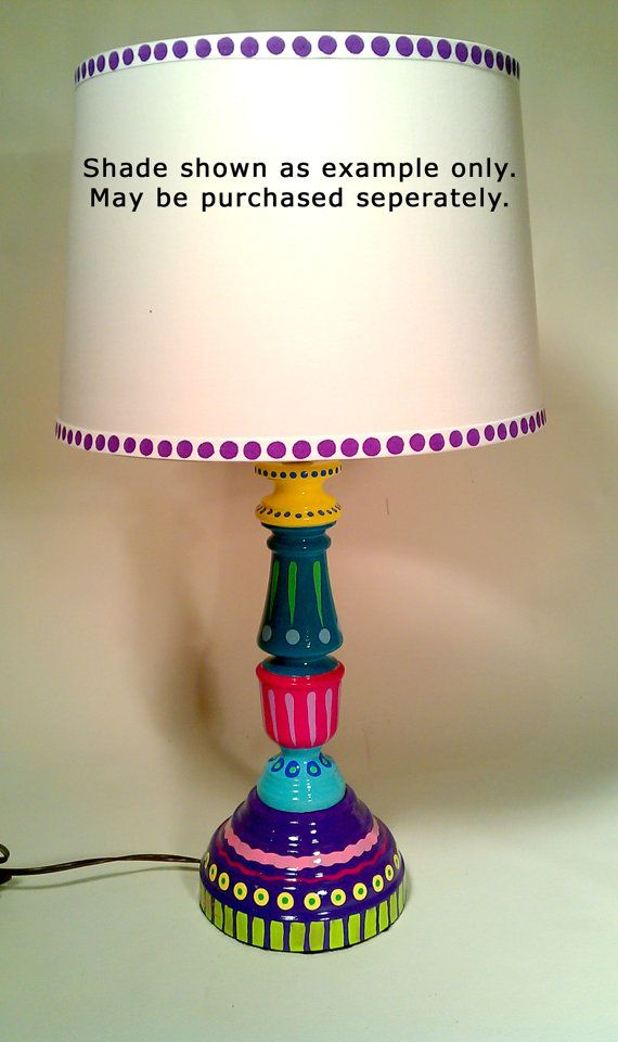 Hand Painted Table Lamp 006 Fun Funky Whimsical And Crazy
