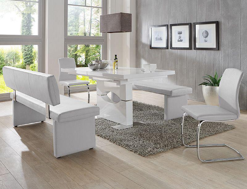 140cm Sitzbank »NEBAN« in Kunstleder weiß - Vorschau 2 Esstische - esszimmer mit sitzbank