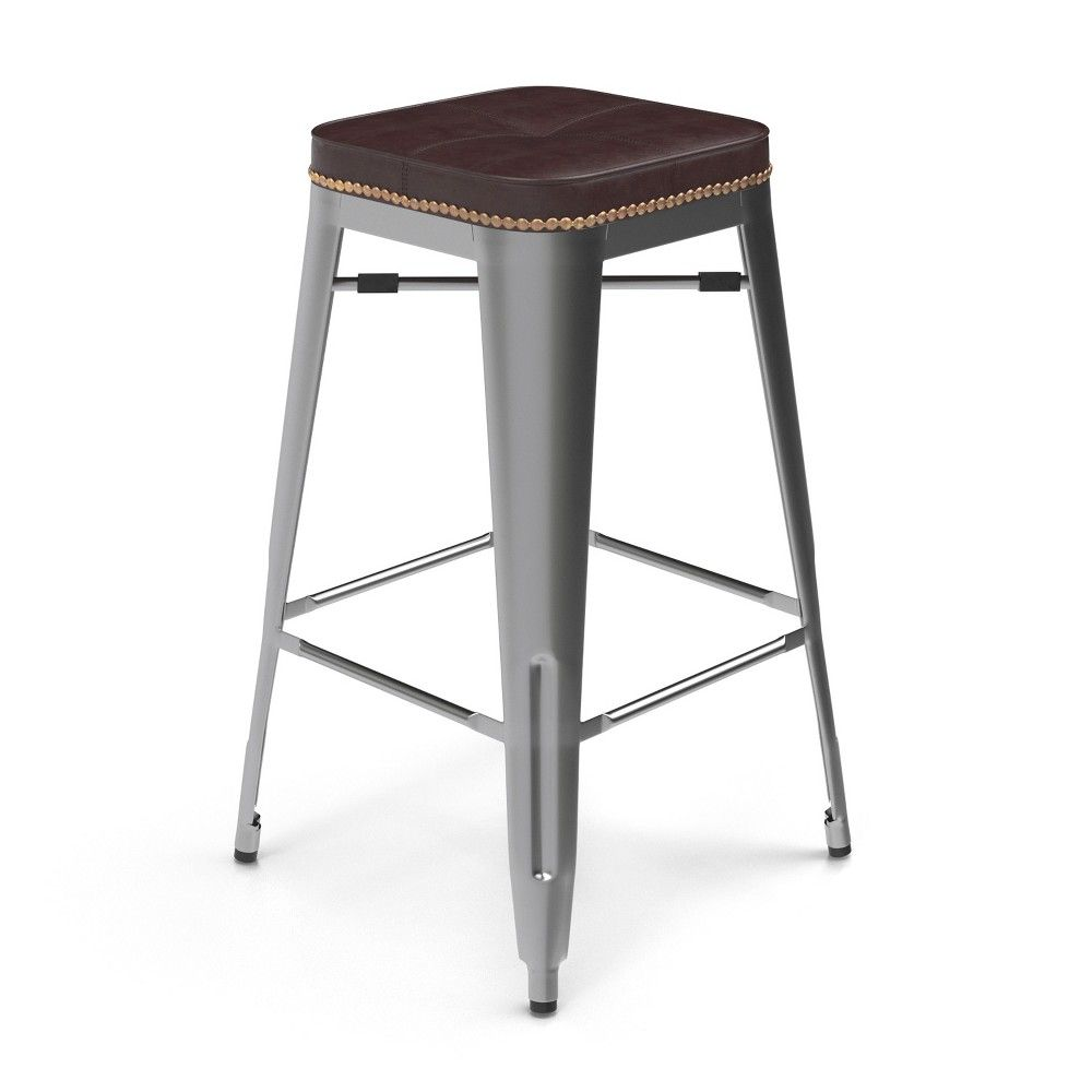 27 Griffin Backless Counter Stool Set Of 2 Silver Aeon Bar