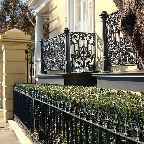 Iron railing fence and balcony gates wrought iron for Charleston style fence