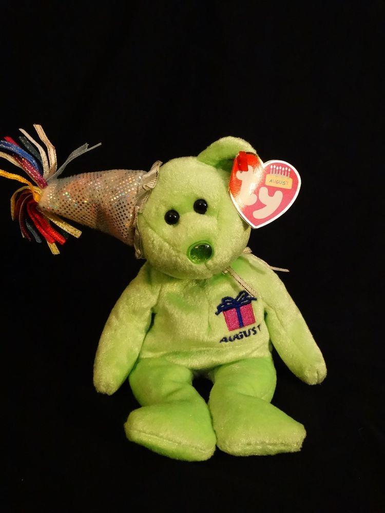 TY beanie baby AUGUST birthday teddy bear w/hat MINT WITH