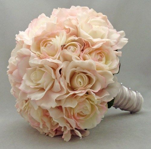 Blush Roses Bouquet Pink Garden Rose Bridal Natural Touch