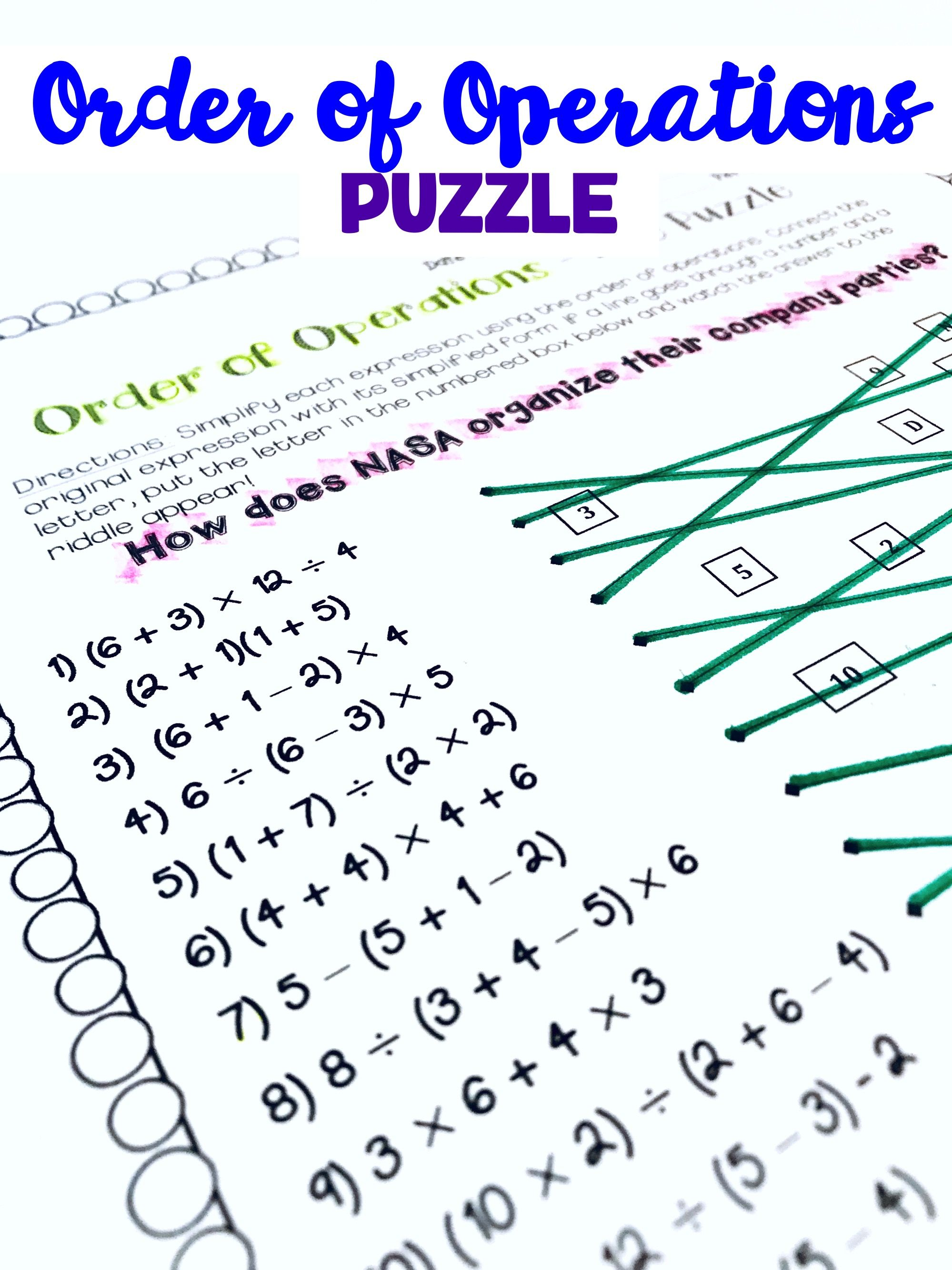 Order Of Operations Review Activity Puzzle Worksheet For