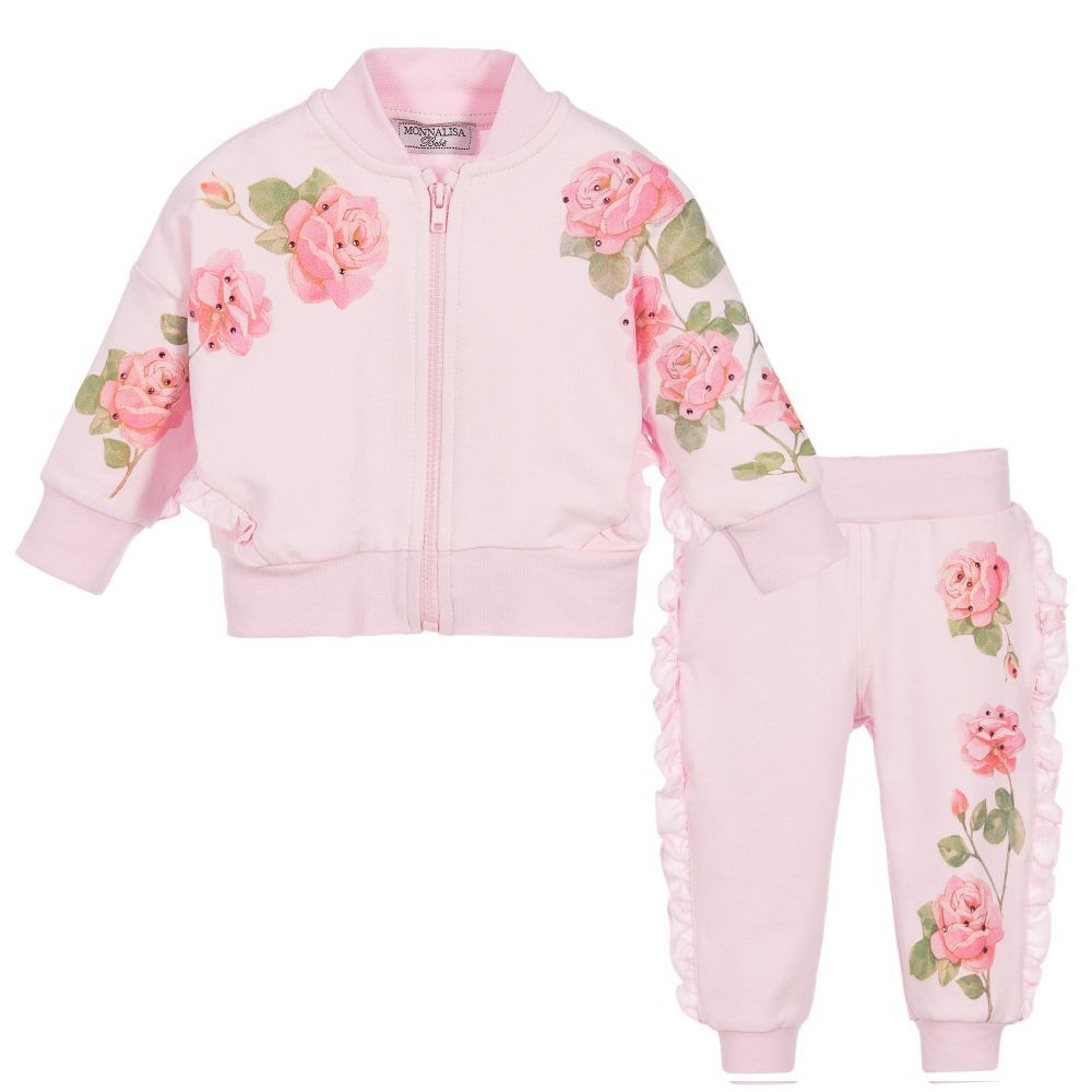 Baby girls pink floral tracksuit lc girl clothing and gifts