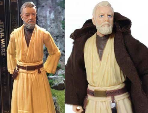 Obi Wan Kenobi Star Wars Black Series Action Figure Custom Repaint Before And After Star Wars Black Series Custom Action Figures Black Series