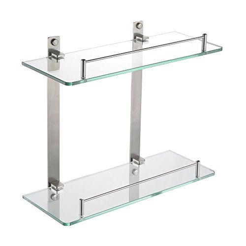 Homeideas Bathroom Tempered Glass Shelf 8mm Thick Wall Mount Rectangular Brushed Nickel Bracket Glass Shelves Tempered Glass Shelves Stainless Steel Bathroom