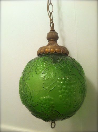 Sweet Swag - Vintage 1960s Retro Mid Century Hanging Globe SWAG LAMP Emerald Green