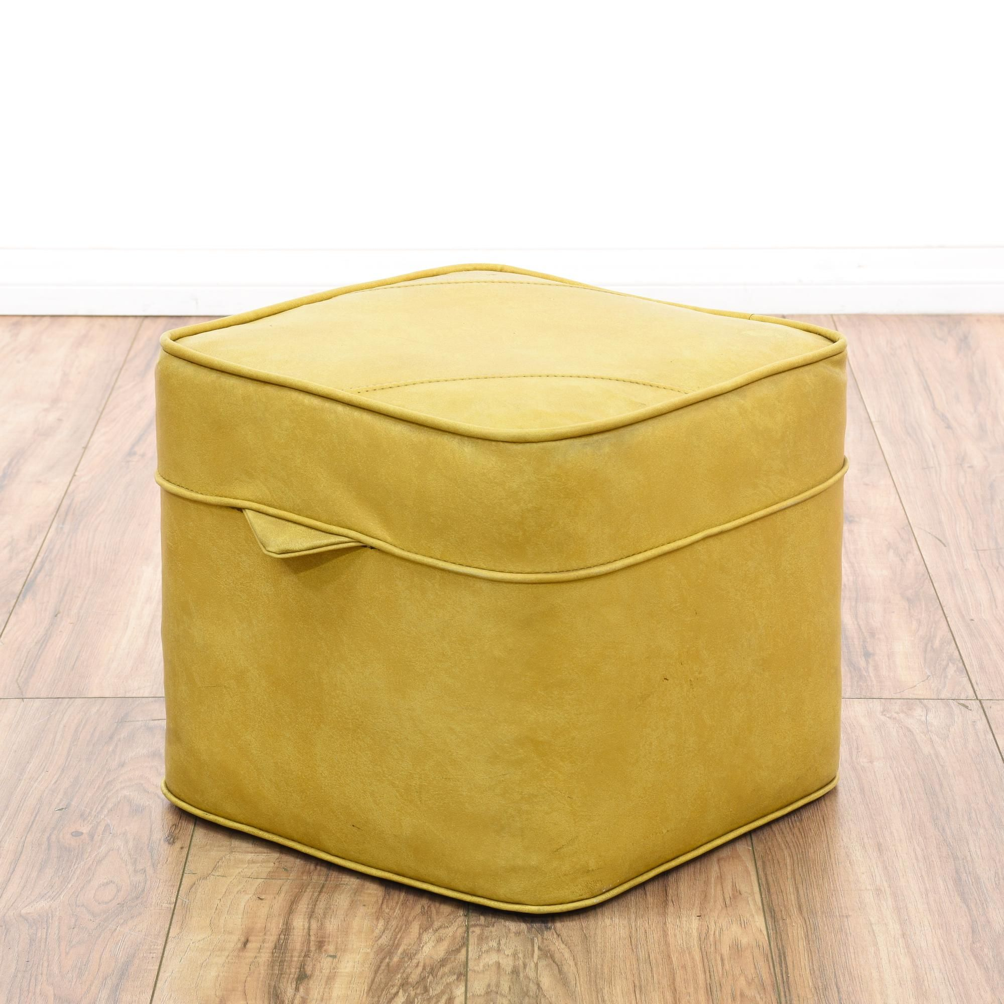This Mid Century Modern Ottoman Is Upholstered In A Durable Vinyl With A  Glossy Mustard Yellow Finish. This Hassock Footstool Has A Cushion Top With  Curved ...