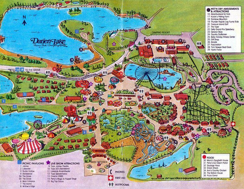Darien Lake 1988 Park Map Darien Lake Lake Map Camping Resort