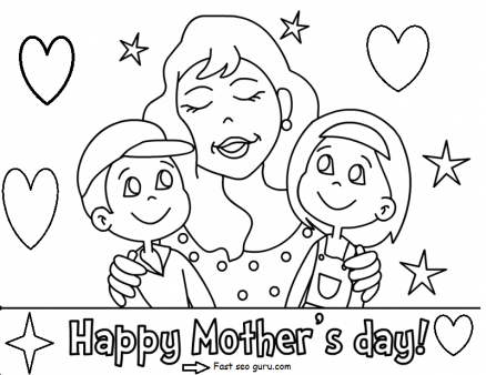 Printable Happy mothers day with her children coloring