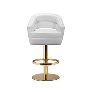 Russel Bar Chair Delve Into Space Age Aesthetics Being Produced In Creamy Velvet Fabrics Mixed With Polished Brass The Base Is Round And Swivels 360 Degree Dom