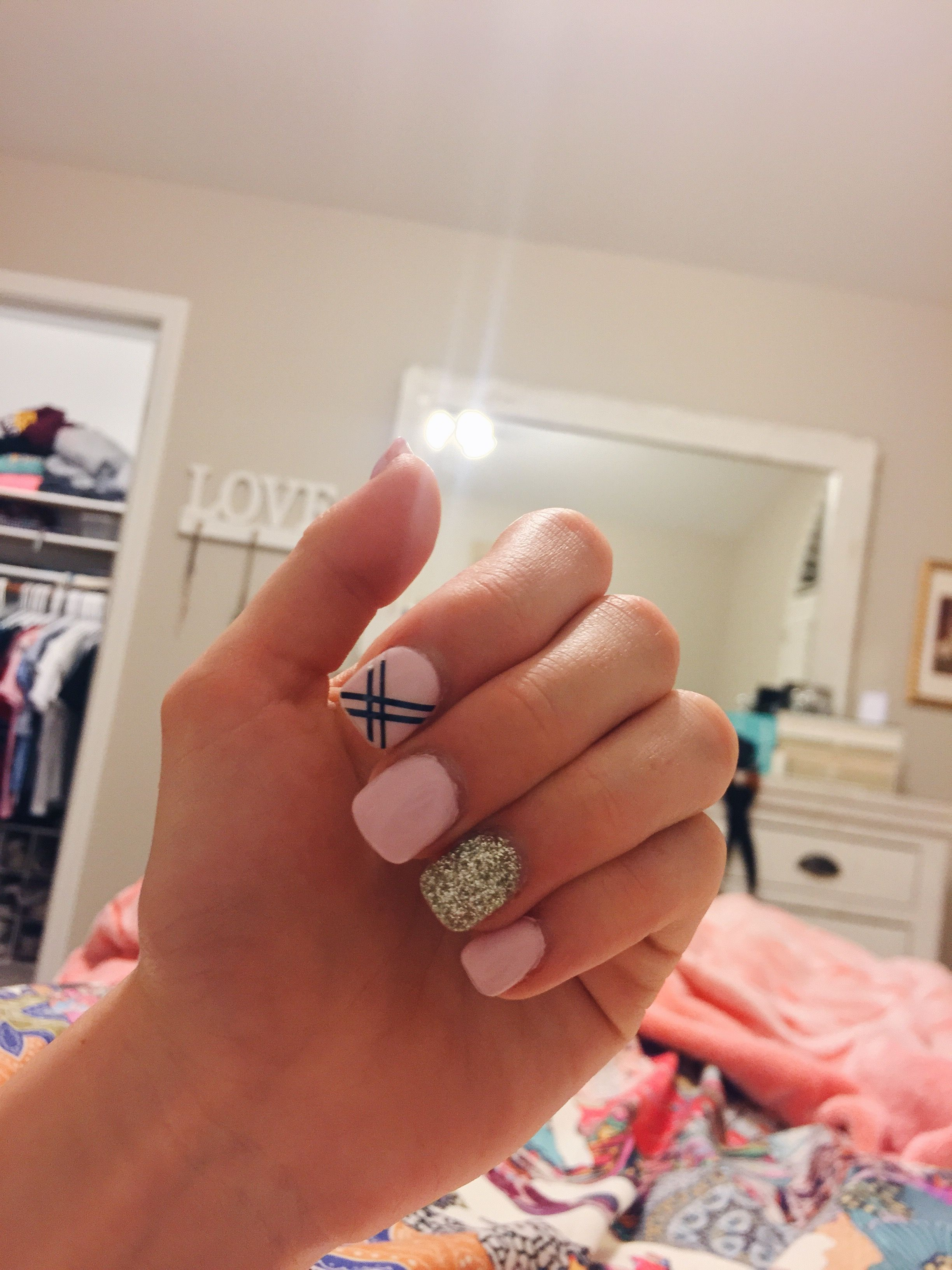 Pink Nails With Black Design And Gold Nails Pinterest Pink Nails