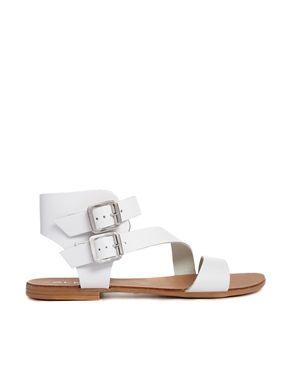 7391f90cd9ed Image 1 of ALDO White Leather Asymmetric Flat Sandals