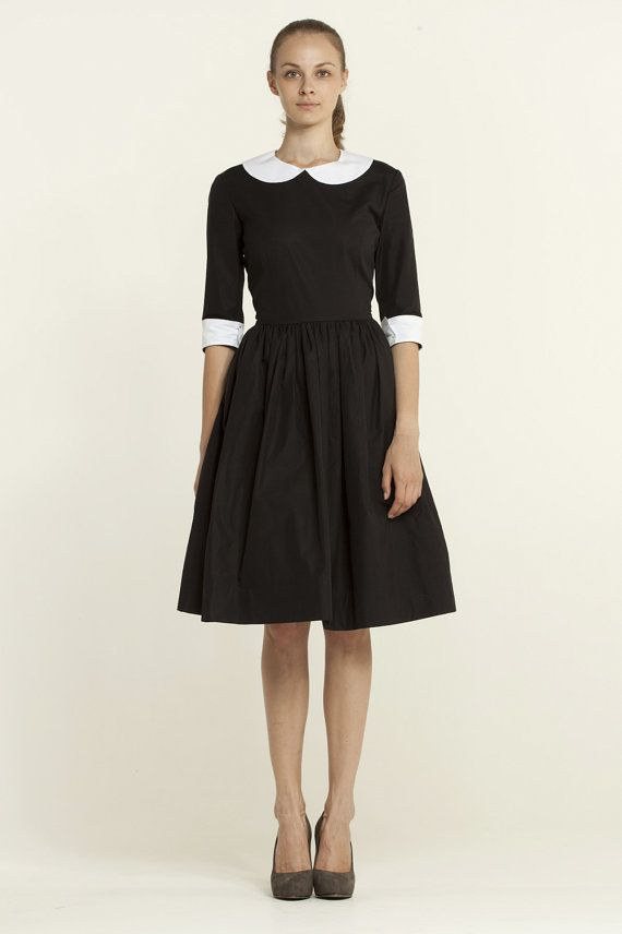 Peter pan collar Little black dress 1950s dress 50s dress Black and ...