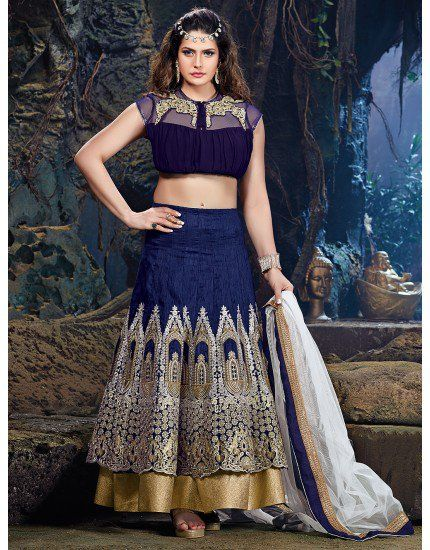 daffde7592a96a Navy Blue Dupion Silk Lehenga Choli with Embroidery Work | Party ...