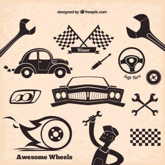 Ícones do mecânico em estilo retrô