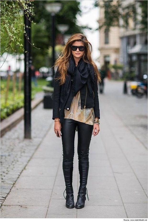 black leggings and black boots