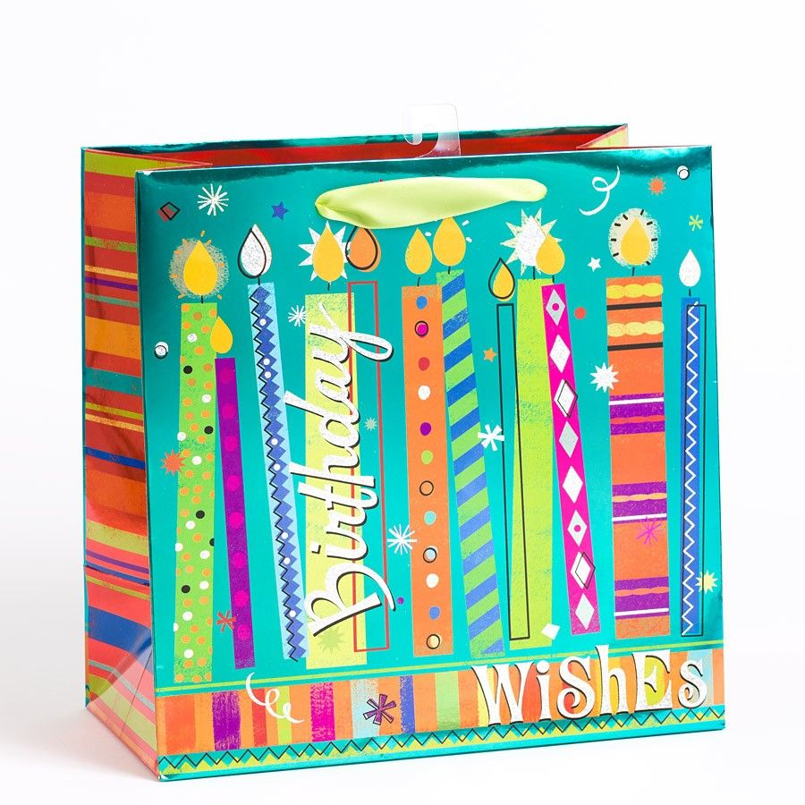 Birthday Candles Wishes Large Gift Bag