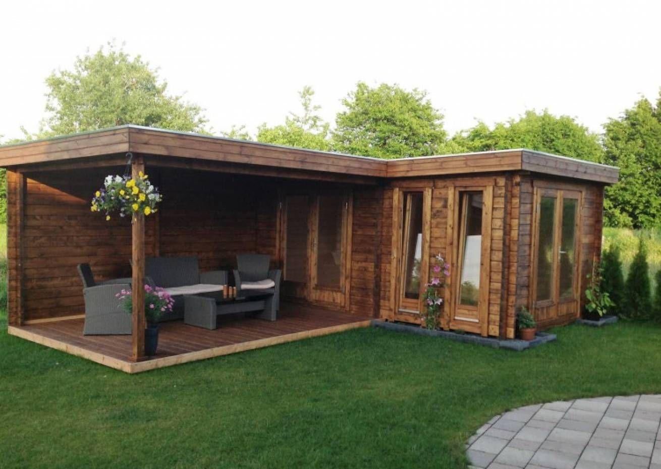 Photo of Flachdach Gartenhaus Modell Quinta-44 ISO