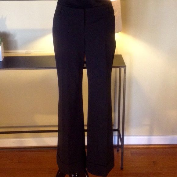 Perfect Essential Black Trousers FINAL PRICE. NO OFFERS ACCEPTED*** Wardrobe staple, black wider legged trousers from LOFT in Marisa fit. Poly/rayon/spandex for easy care and comfort. Great for the office or a night out. Excellent condition, only worn once. Petite length inseam, has 2 back pockets and side/front pockets. LOFT Pants Trousers