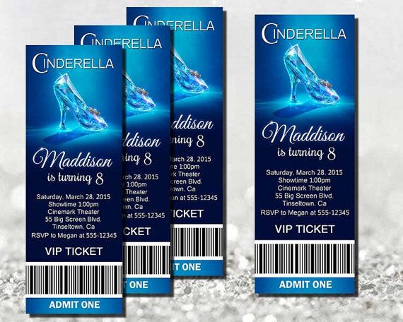 New Cinderella Movie Invitation  Movie Ticket Printable By