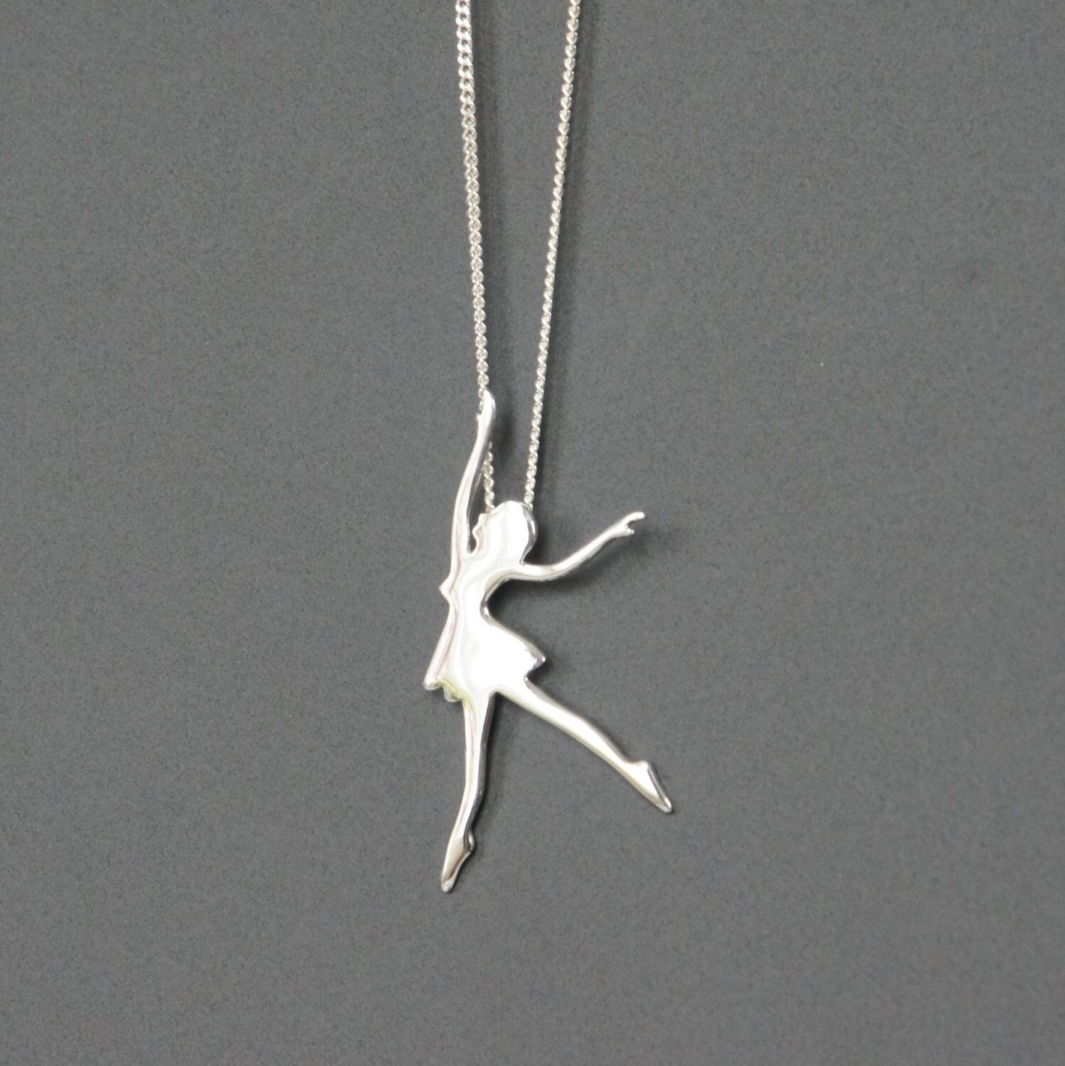 Sterling silver ballerina necklace ballet dancer necklace sterling silver ballerina necklace ballet dancer necklace birthday gift childrens jewelry kids mozeypictures Image collections