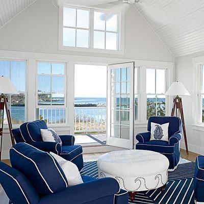 blanc, bleu, décoration, décors, espaces, marine, marins, mer, plage ...