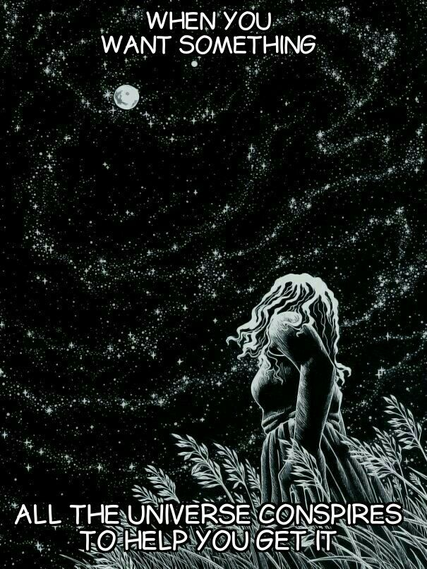 The Universe Is Conspiring To Give Me All That I Want Moon Art Illustration Art Drawings