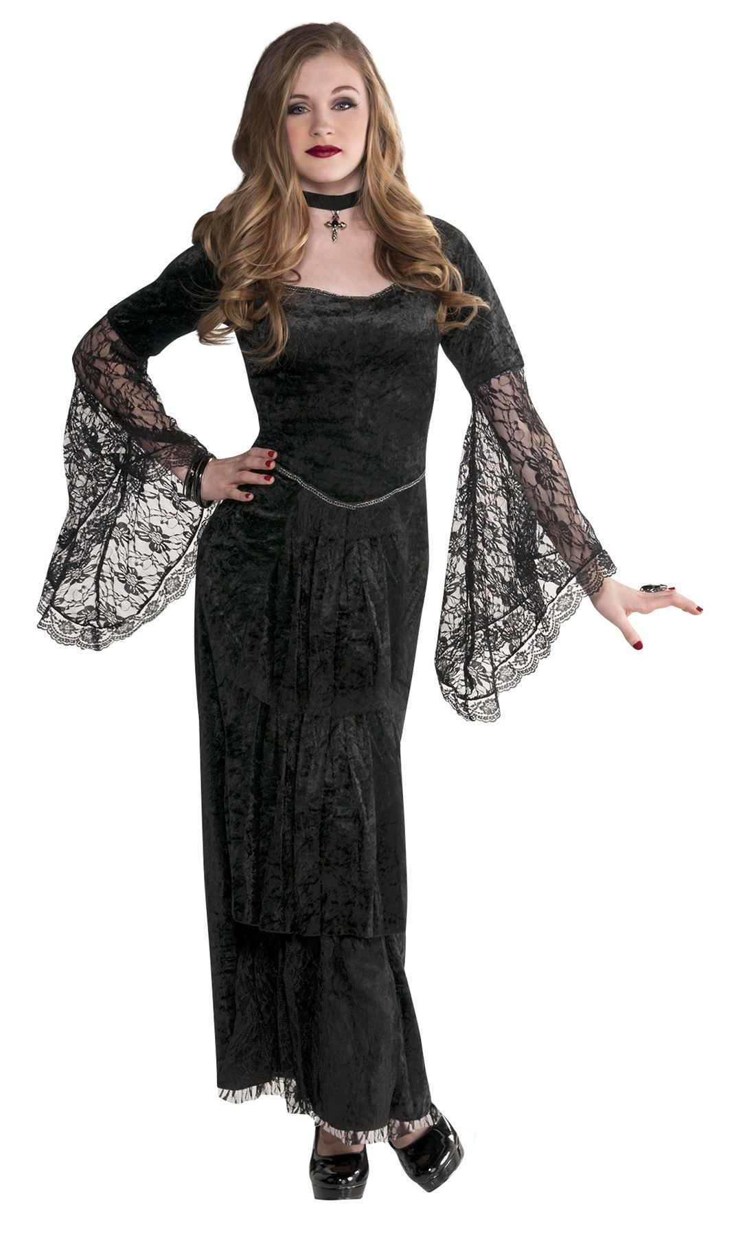 Teen Gothic Temptress Costume. This spooky Halloween fancy dress is party ready with lace detailing  sc 1 st  Pinterest & Teen Girls Gothic Temptress Costume Vampire Witch Halloween Costume ...