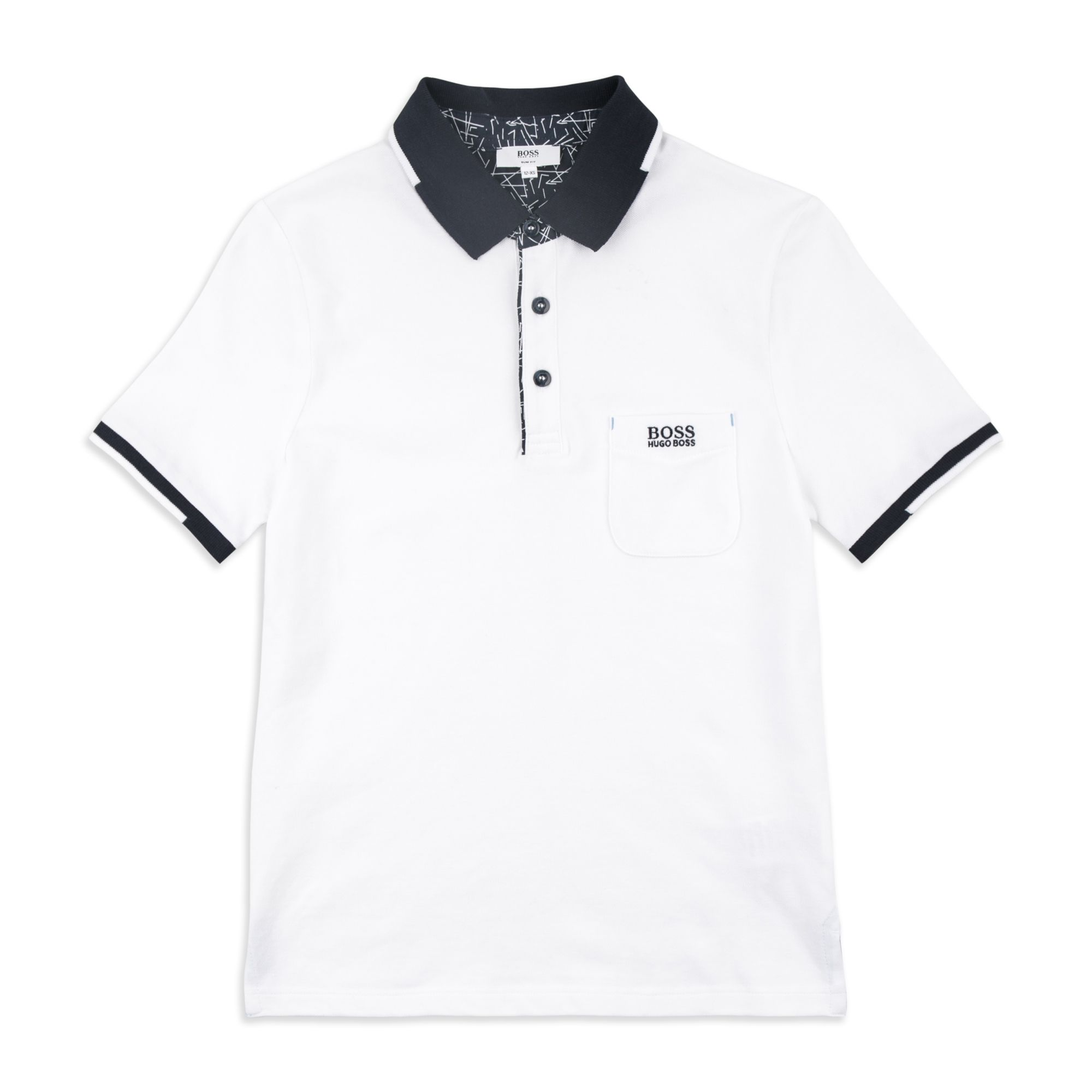 56ef24095 BOSS KIDS Boys Contrast Collar Pocket Polo - White Boys short sleeve polo •  Lightweight cotton pique • Three button placket • Contrast collar design •  Woven ...