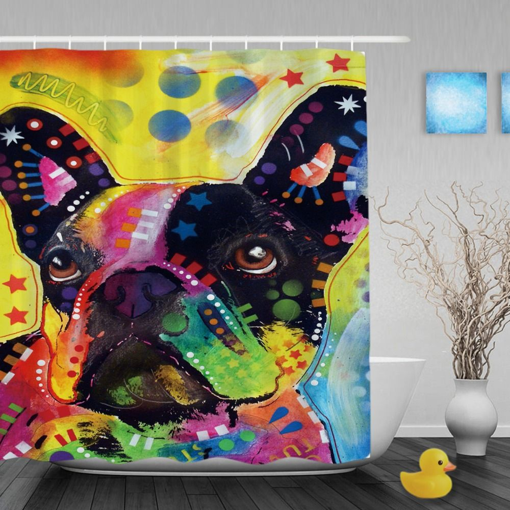 Lovely French Bulldog Shower Curtains Art Dog Personalized