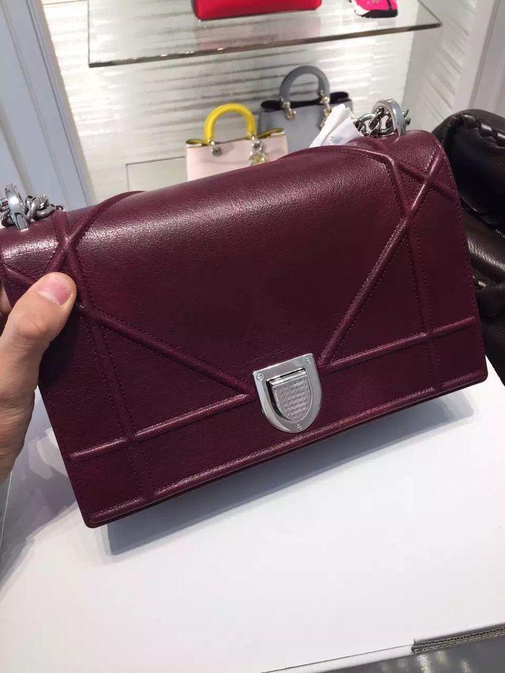 c574141ba9ef Authentic Dior Diorama Calfskin Shoulder Bag Burgundy Dior Diorama Bag