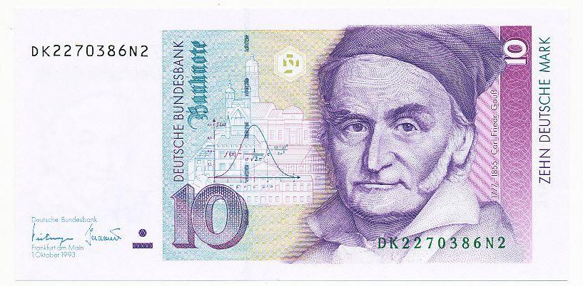 Germany 1993 10 Deutsche Mark Portrait Of Carl Friedrich Gauss Carl Friedrich Gauss Bank Notes Money Collection