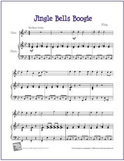 Jingle Bells Boogie Free Sheet Music For Beginner Oboe With