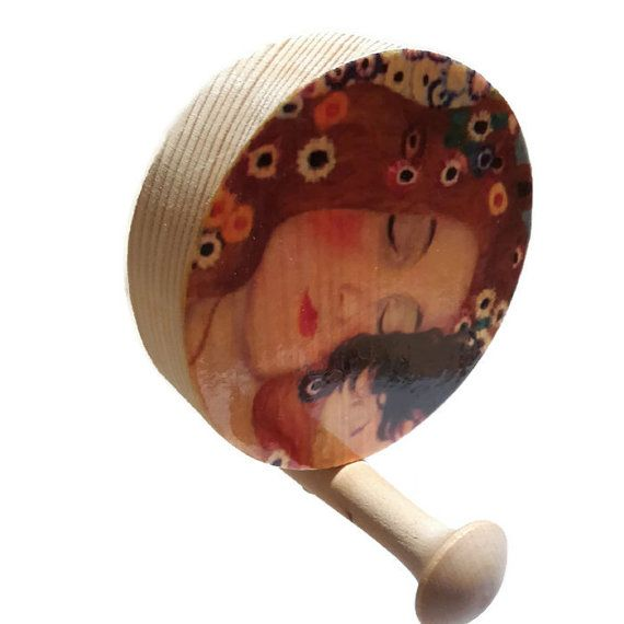 Wooden wall hook, Round  Wall Hook, Mother and Child by WoodpileGems