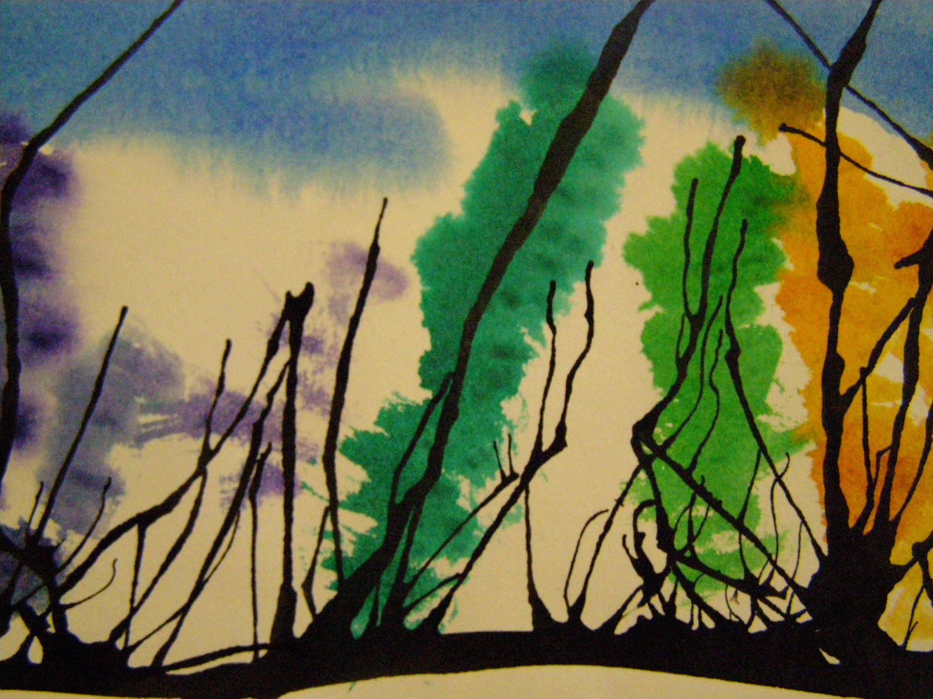 elementary art-3rd grade- blow straw trees