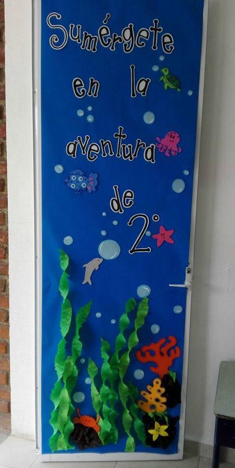Puerta decorada de bienvenidos tematica de mar puertas for Decoracion puerta aula infantil