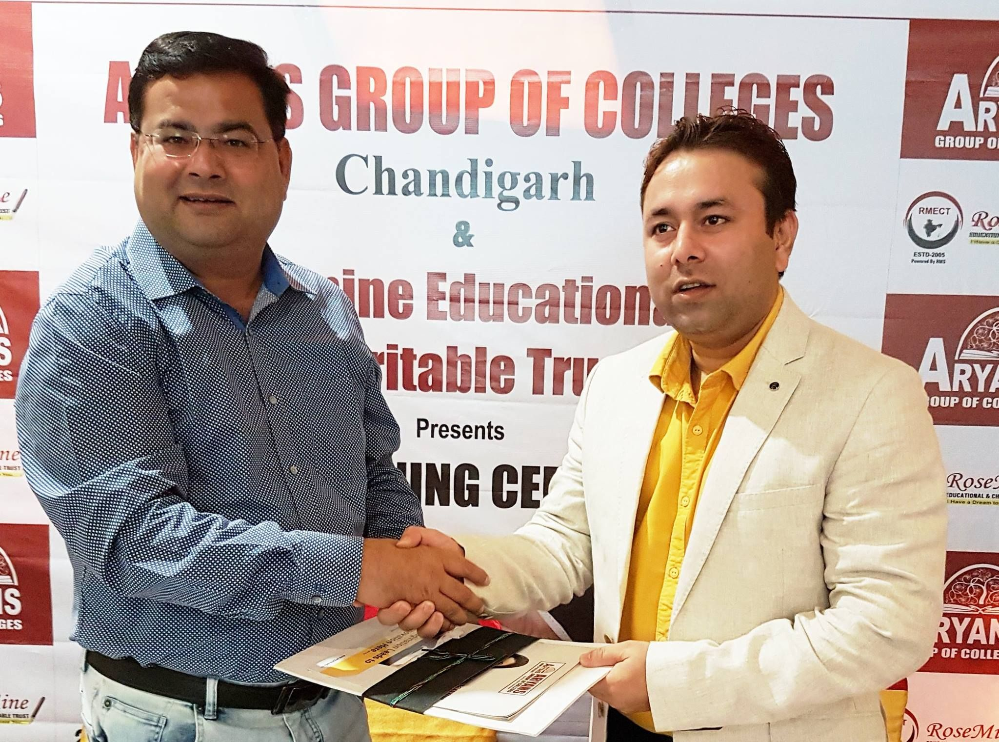 ... today Aryans Group of Colleges, Chandigarh has signed a Memorandum of Understanding (MoU) with Rosemine Educational and Charitable Trust, Patna.