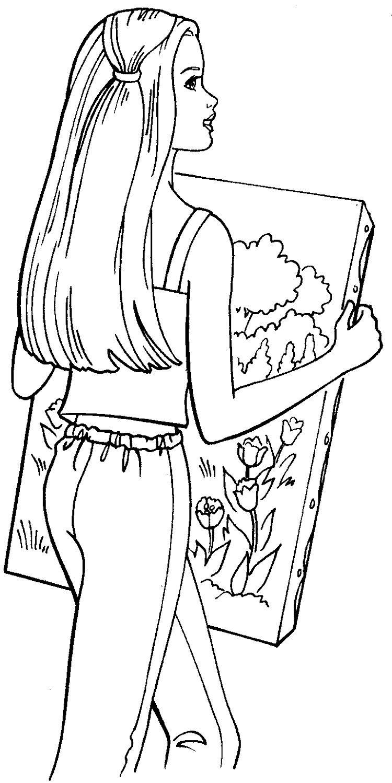 Barbie coloring pages paint