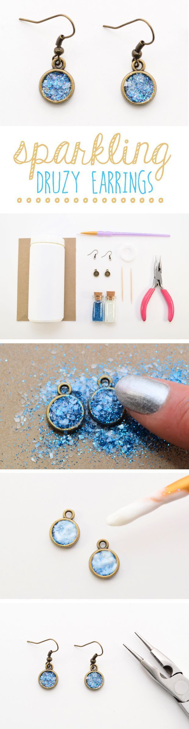 Whether you're a DIY maven or a design-obsessed fashionista, there's a good chance that you've spotted the druzy trend. Never heard of the term before? Druzy refers to the glittering layer of tiny crystals on a rock or stone. Luckily, you don't have to be a geologist to discover the sparkle. Mix up some glitter, add a little decoupage, and follow this tutorial for a pair of faux druzy earrings.