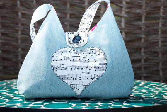 Denim Handbag with a music theme by GorgeousAgaindotcom on Etsy, £25.00